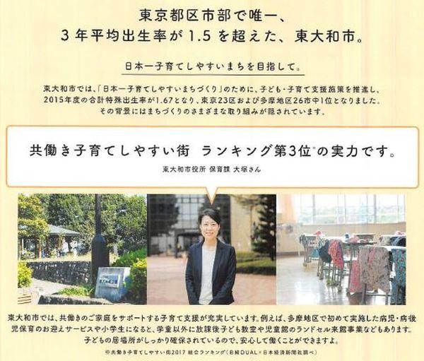 共働き子育てしやすい街ランキング第3位(2017年)のまち・東大和市