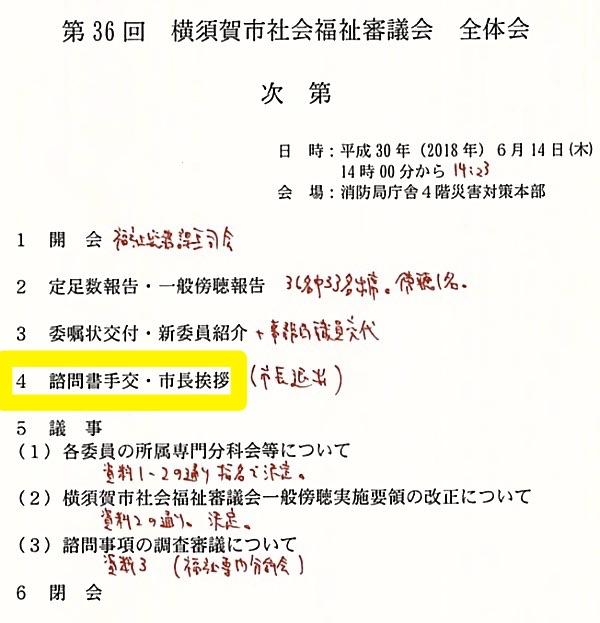 社会福祉審議会(第36回)のプログラム