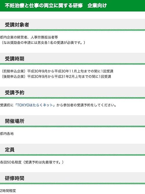 東京都の取り組み「不妊治療と仕事の両立に関する研修 企業向け」