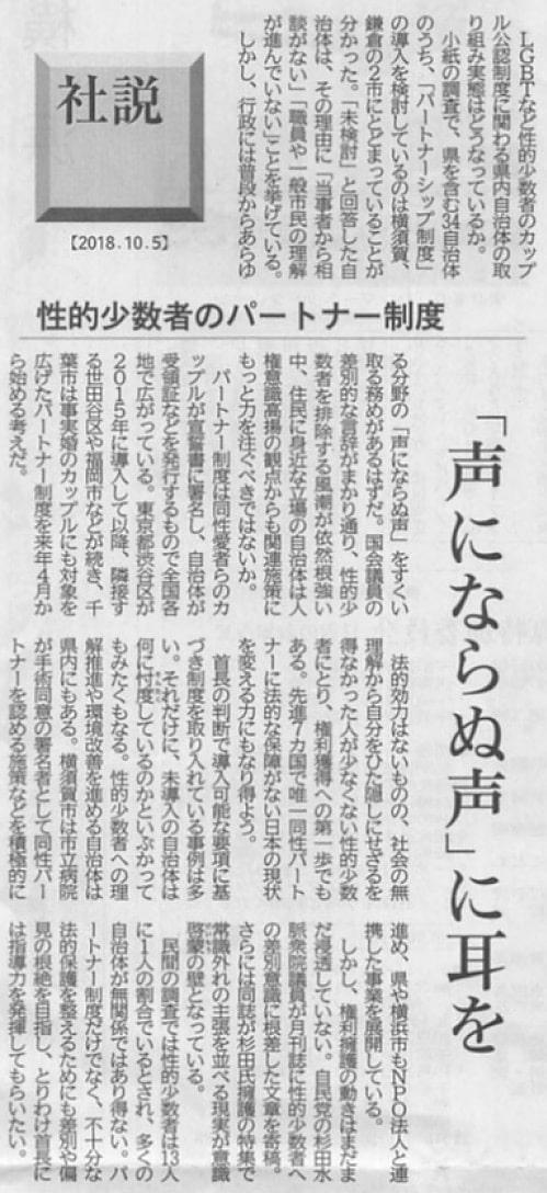 2018年10月5日・神奈川新聞・社説より