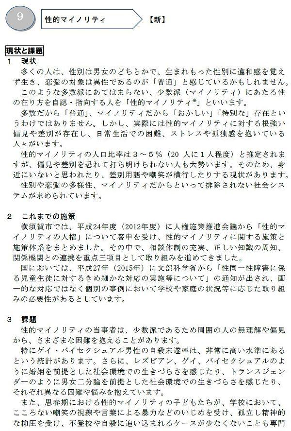 改定版「横須賀市人権施策推進指針」中の「性的マイノリティの人権」の記述1