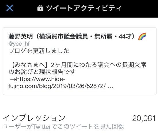 フジノのそのツイートは2万人以上が見て下さいました