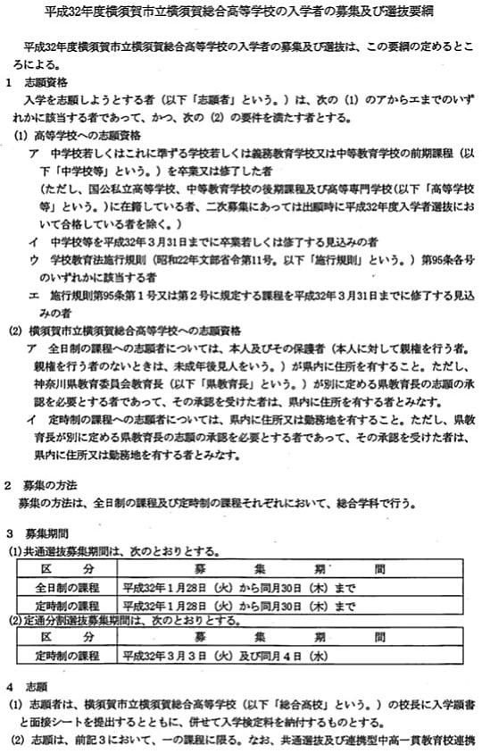 2020年度横須賀市立横須賀総合高校の入学者の募集及び選抜要項
