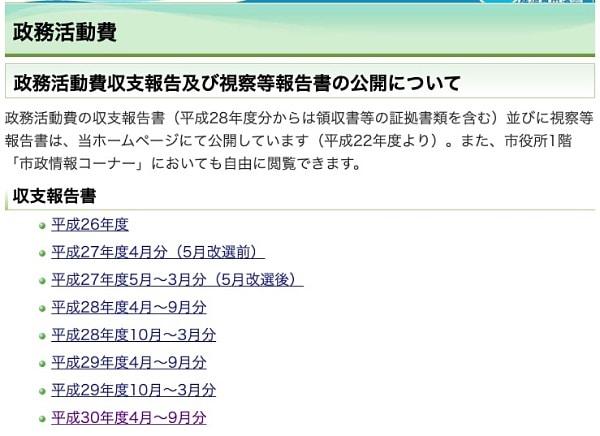 横須賀市議会のホームページではまだ2018年4〜9月分までしか公開されていません
