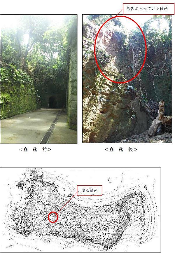 崩落箇所の位置図