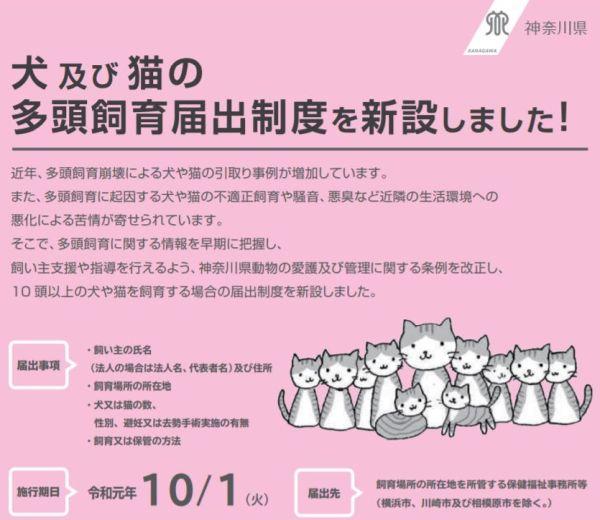 神奈川県は多頭飼育届出制度をスタートしました