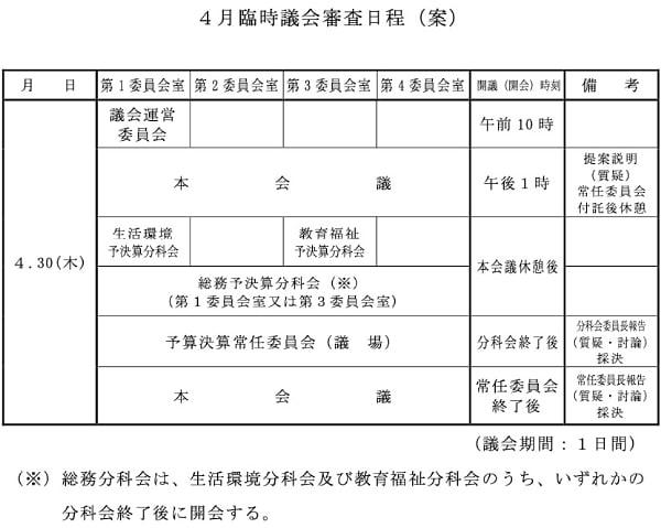 2020年4月臨時議会のスケジュール