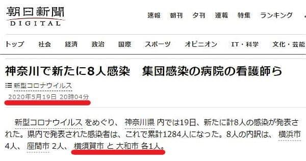 メディアでは5月19日に横須賀市で新たに1名の陽性が判明したと報道されました