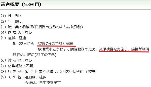 横須賀市が5月22日に陽性と発表しました